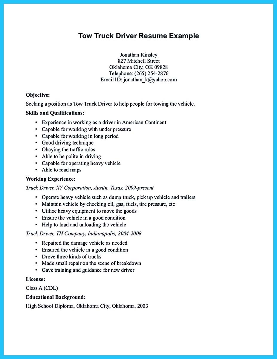 resume template for driver position