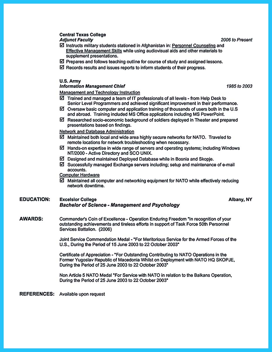 job resume for skills
