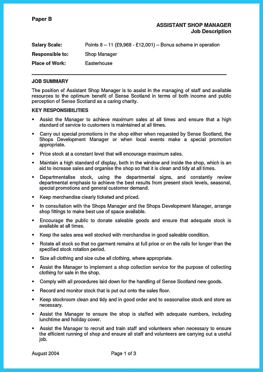 resume objective for retail assistant manager