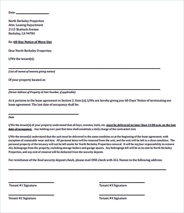 12+ Termination Letter Template - printable lease agreement