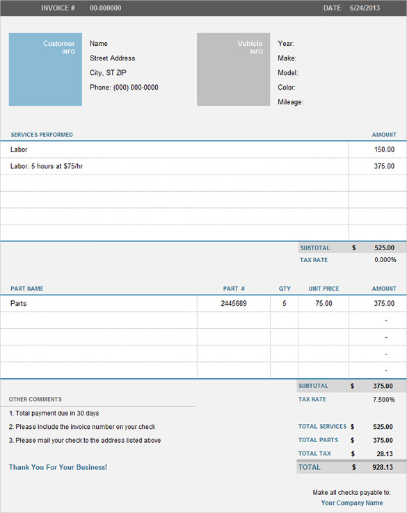 Microsoft Excel Invoice Template Free Professional and Easy to Use - free auto repair invoice template