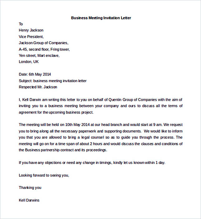 Invitation Letter Formal For Meeting 38+ Business Letter Template Options: Know Which Format To Use