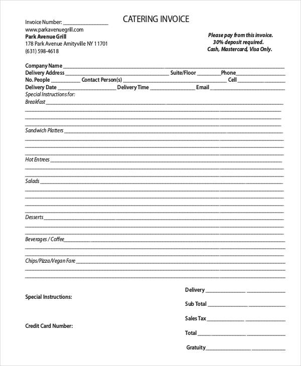 Tips, Design,  Concept to Relate in Catering Invoice Template