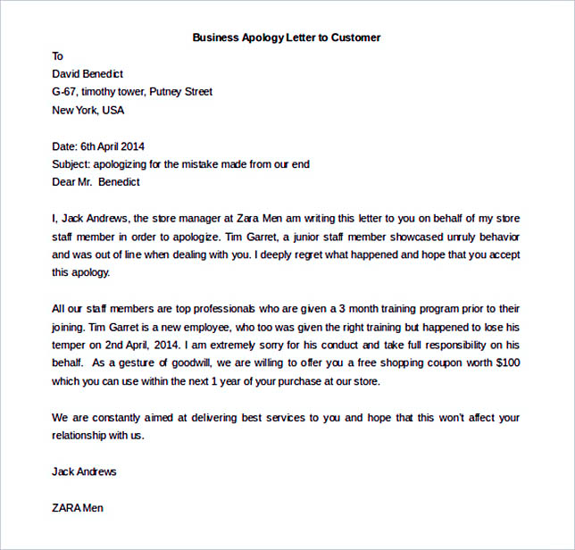 Business Apology Letter For Poor Customer Service  Londa