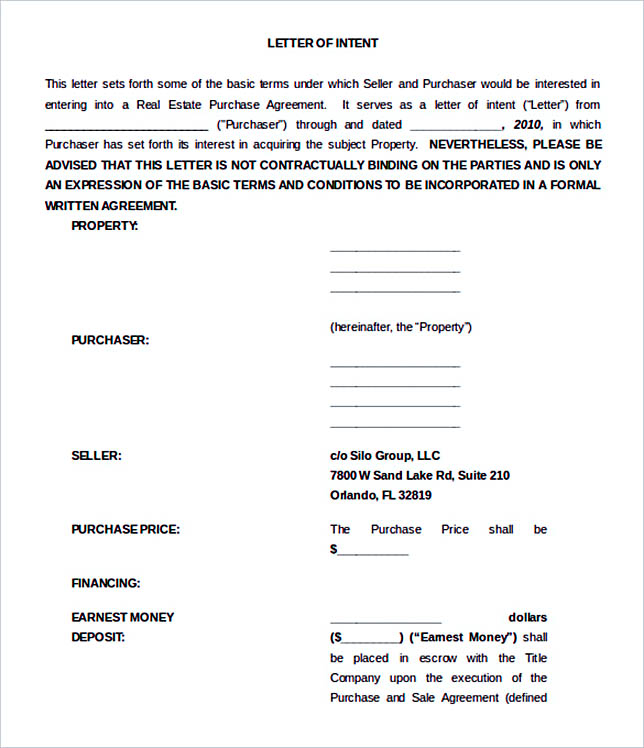 15+ Letter of Intent Template for Both Parties - letter of intent real estate