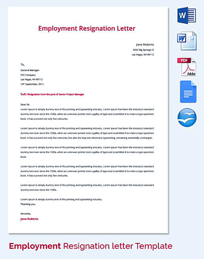 Letter of employment resignation