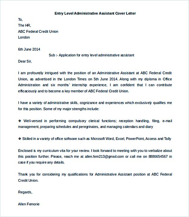 Job Cover Letter to Secure a Job - administrative assistant cover letter template