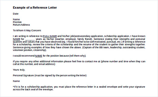 Reference Letter Template Details You Should Include When Writing One - email reference letter template