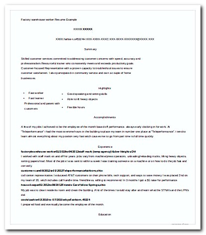 100 sle resume for factory worker homework mat help