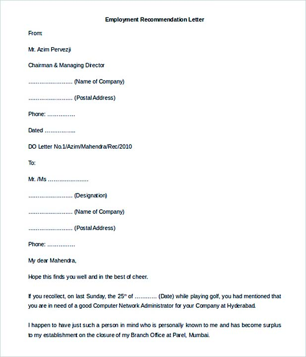 12+ Letter of Employment - employee recommendation letter