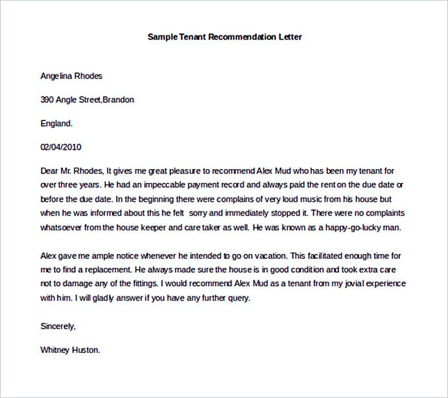 Best Recommendation Letter Template to Use - Tenant Recommendation Letter