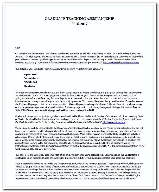 assistantship cover letter The second option for graduate assistantships is for positions that are more  closely  cover letter: your cover letter should address your interest in each.