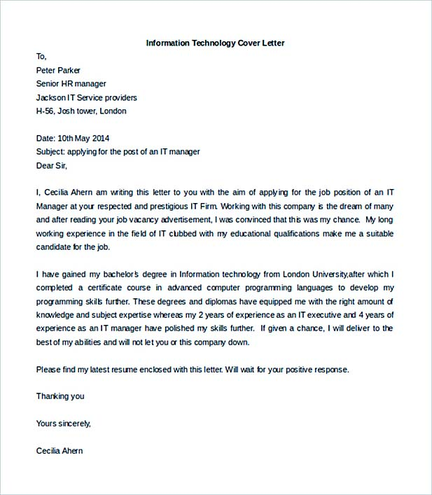 job cover letter to secure a job cover letter information - Information Technology Cover Letters