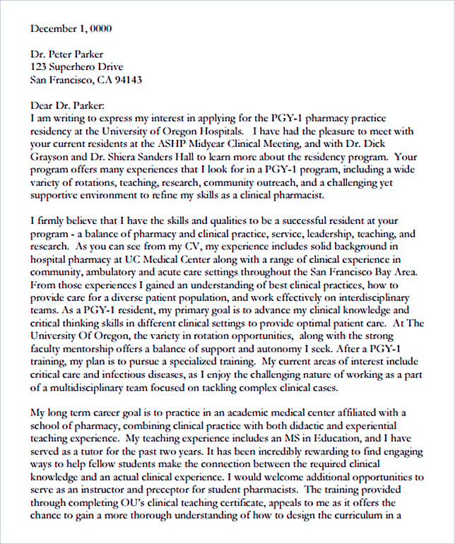 15+ Letter of Intent Template for Both Parties - sample pharmacy residency letter of intent