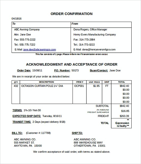 order confirmation email template