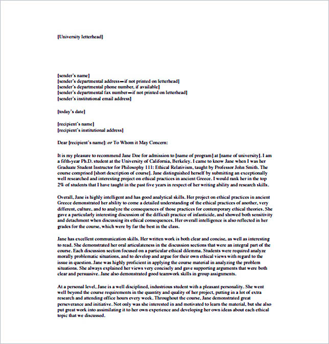 graduate school recommendation letter sample