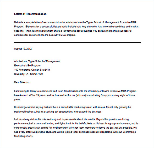 15+ Letter of Recommendation Format Basic Template to Customize - leadership recommendation letter