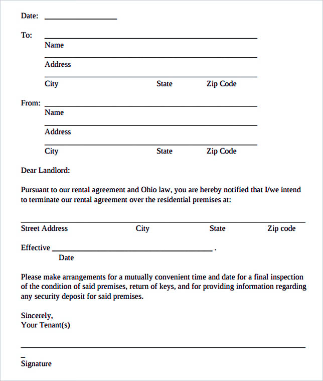 12+ Termination Letter Template - rental agreement letters