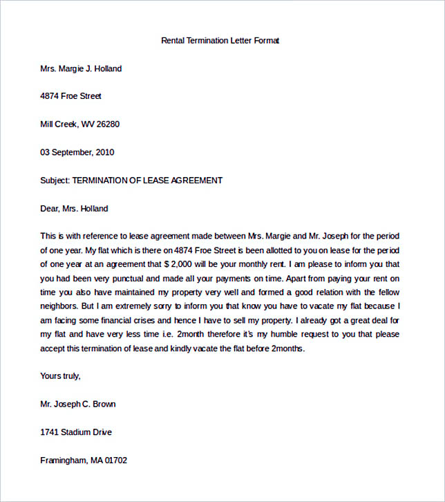 12+ Termination Letter Template
