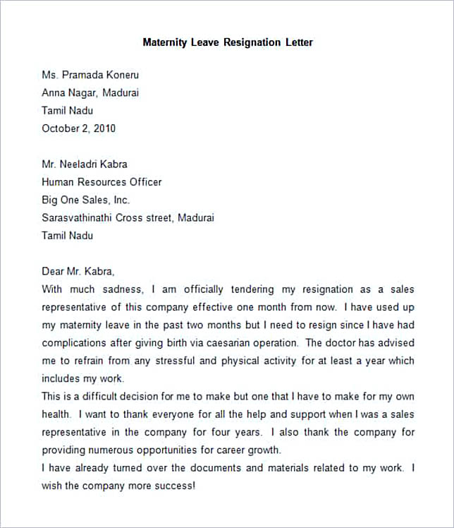Sample Maternity Resignation Letters Employee Resignation Letter - maternity resignation letter