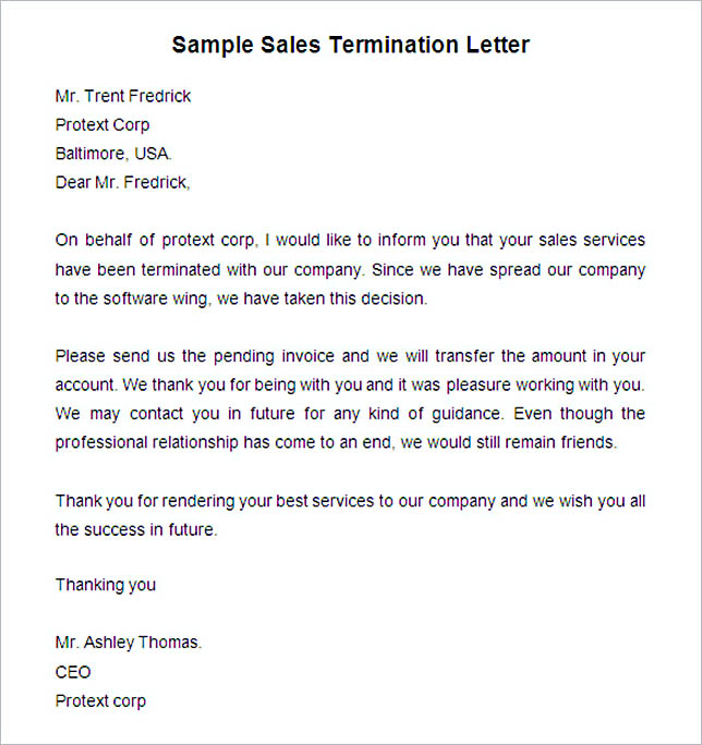 Service Termination Letter Samples  Termination Of Services Letter
