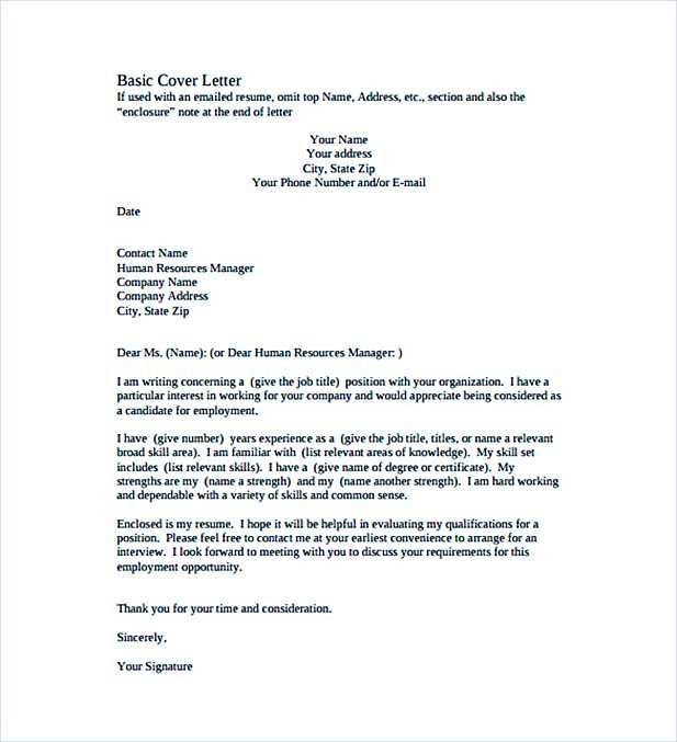 templates for cover letters free