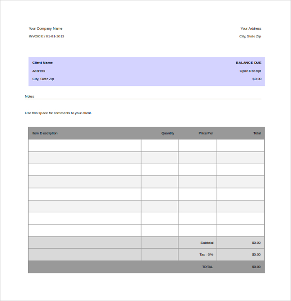 Simple and Basic Invoice Template Word Components with Tips - ms word quote template