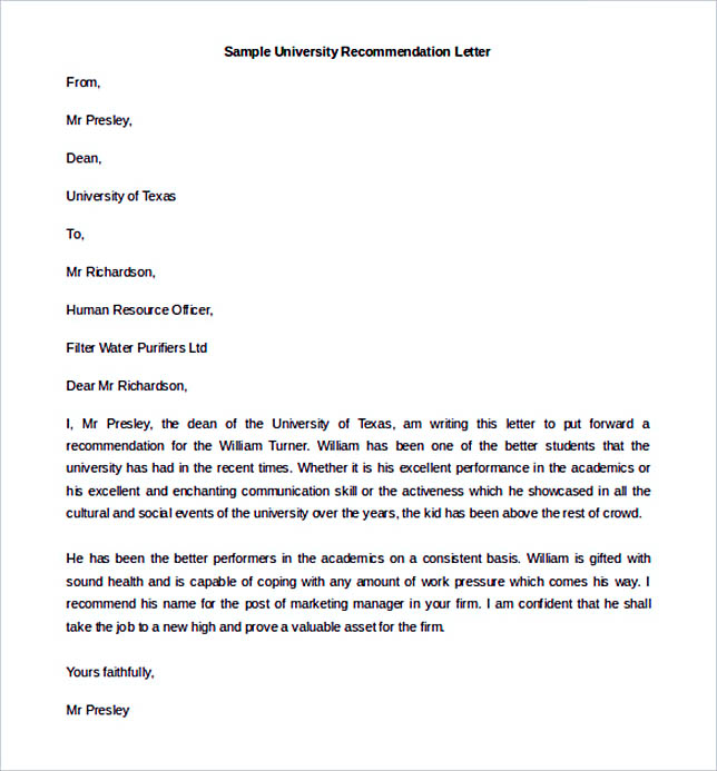 Best Recommendation Letter Template to Use - recommendation letter