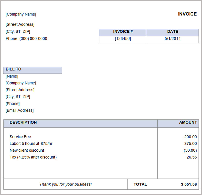 Simple and Basic Invoice Template Word Components with Tips