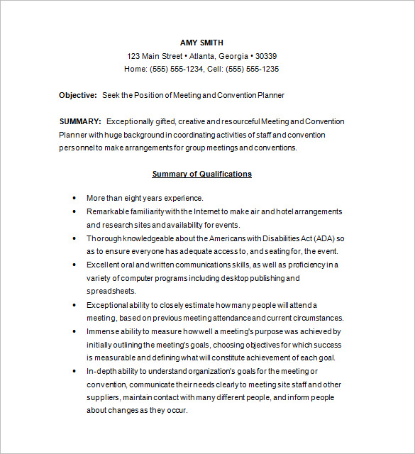 meeting planner cover letters