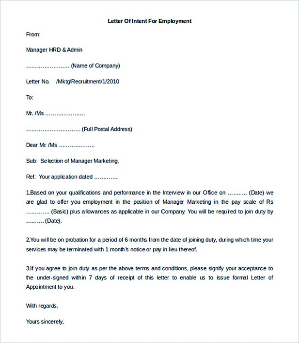 12+ Letter of Employment - letter of intent for employment template