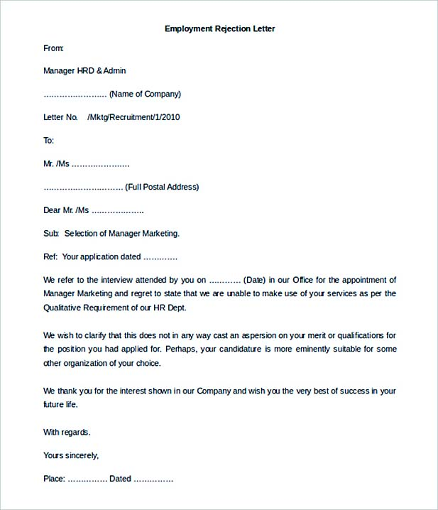 12+ Letter of Employment - employment rejection letter