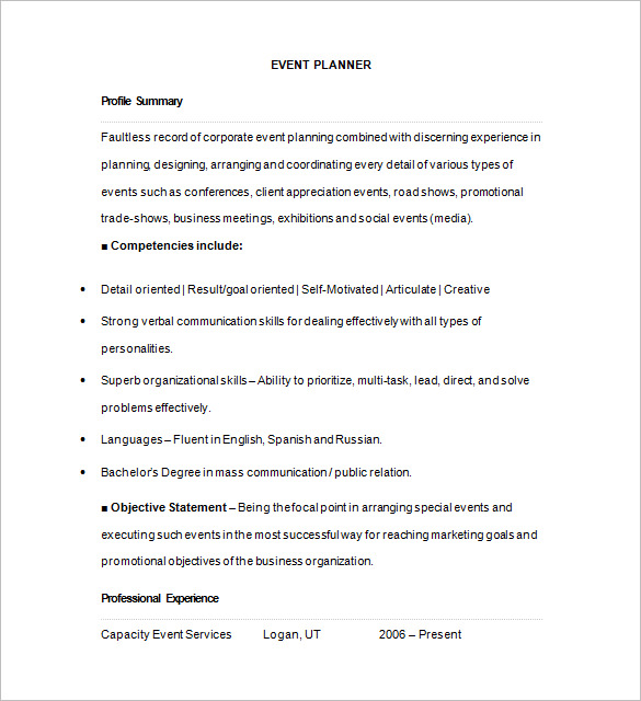 A Guideline to Design a Professional Event Planner Cover Letter - event planner resume template