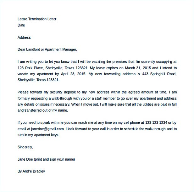 9 Lease Termination Letter Template Lease Termination Letter Template   Lease  Termination Letter