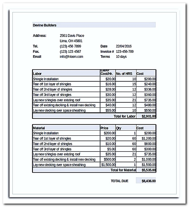 What to Be Included in Roofing Invoice Template with Example