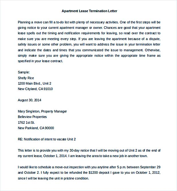 Termination Notice Template 9+ Lease Termination Letter Template - sample lease termination letter