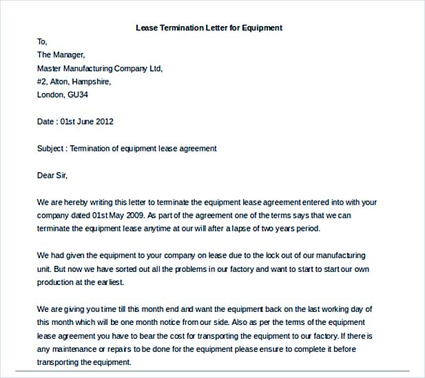 9+ Lease Termination Letter Template