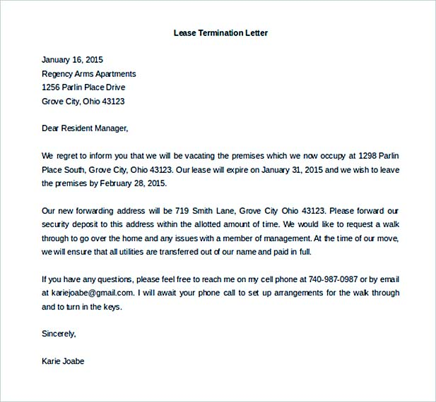 Lease Termination Letter Format - Fiveoutsiders