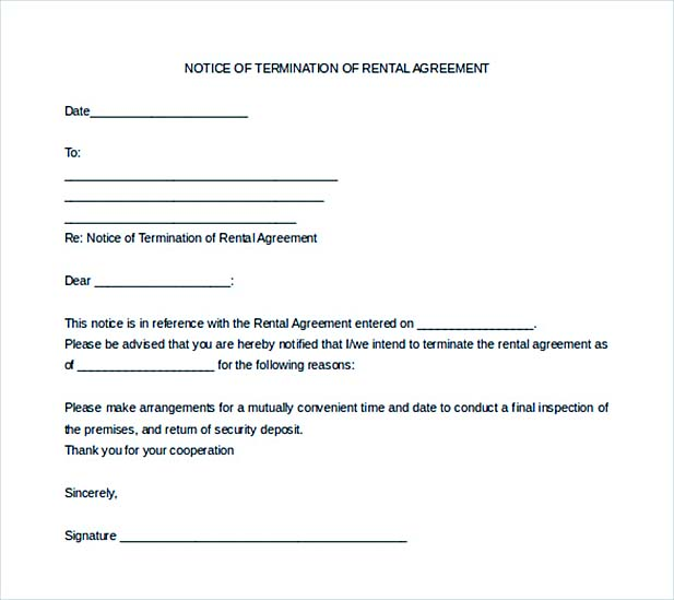 9+ Lease Termination Letter Template - Example Of A Termination Letter