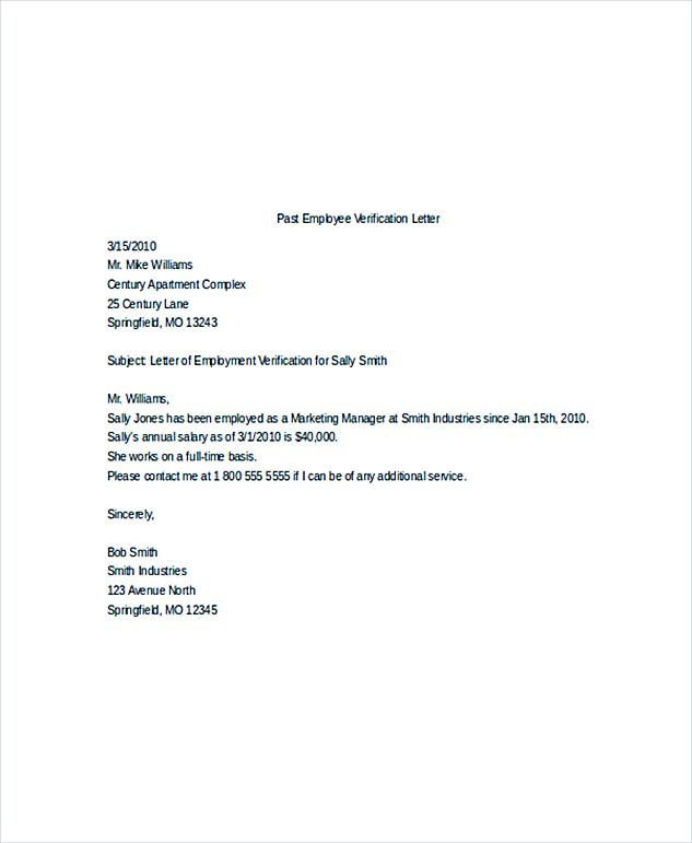 Employment Verification Letter What Information to Include