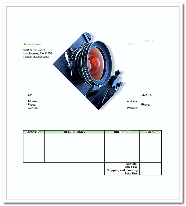 Photography Invoice Sample Adobe Pdf ( Pdf) And Microsoft Word - photography invoice template
