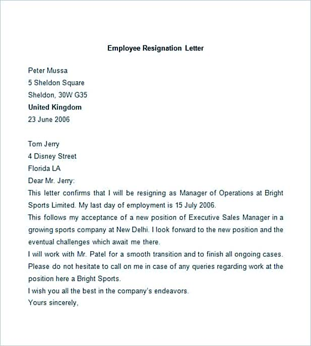 Best Professional Resignation Letter Format \u2013 Tips Things to Avoid