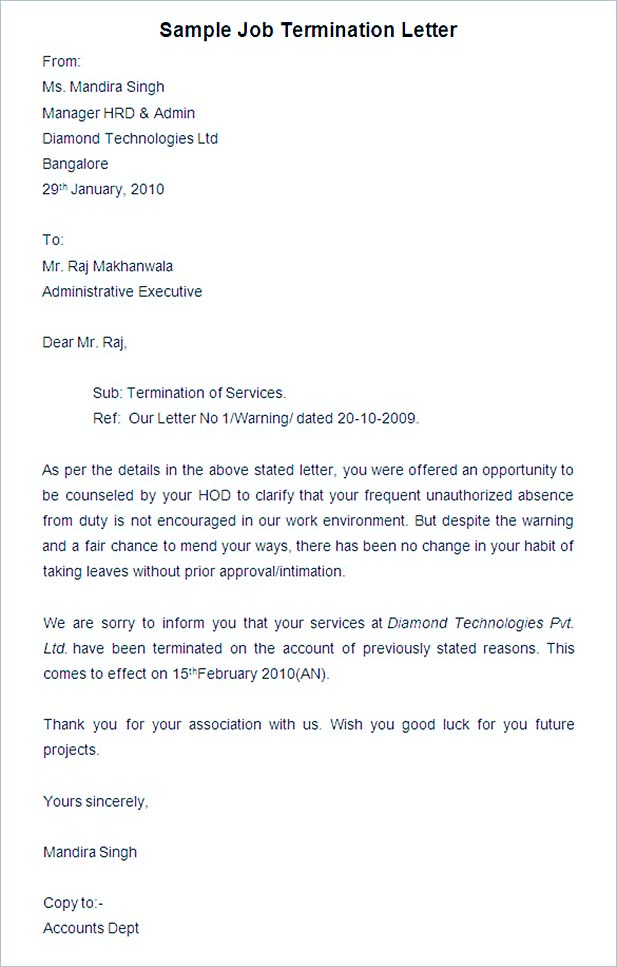 19+ Termination Letter Sample \u2013 How It Should be Written and Edited - company termination letter