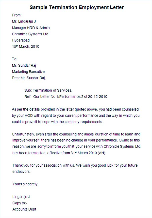 termination of employment letter sample - Minimfagency