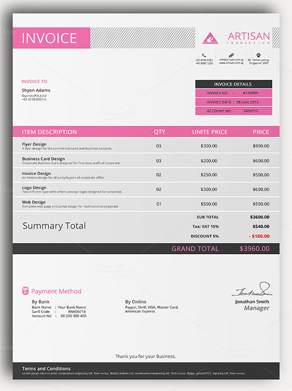 29+ Free Invoice Template for Mac Programs