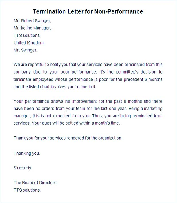 employee performance letters - Intoanysearch - job termination letters