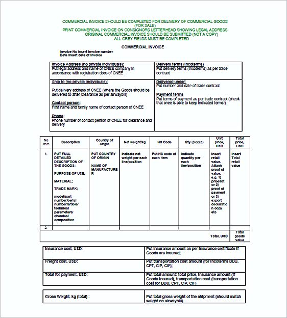 Simple Invoice Template Word - commercial shipping invoice