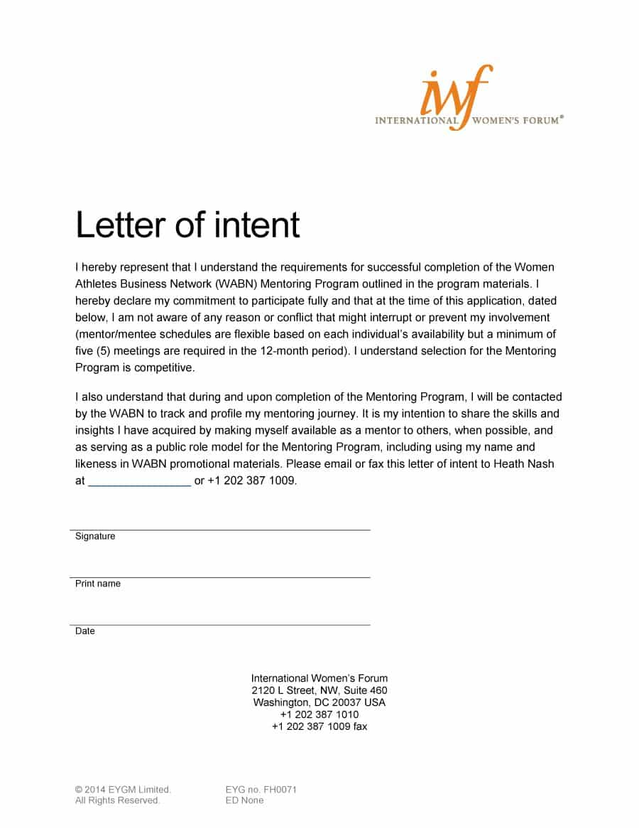 employment letter of intent template