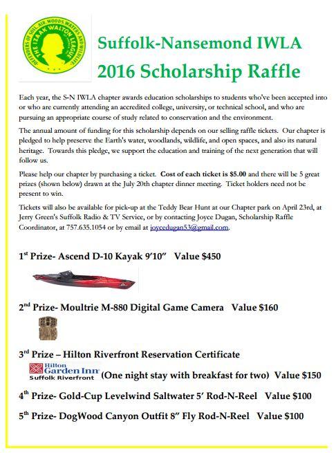 2016 Scholarship Fund Raffle Fundraiser \u2013 S-N IWLA