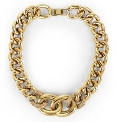 BCBG Pave link necklace
